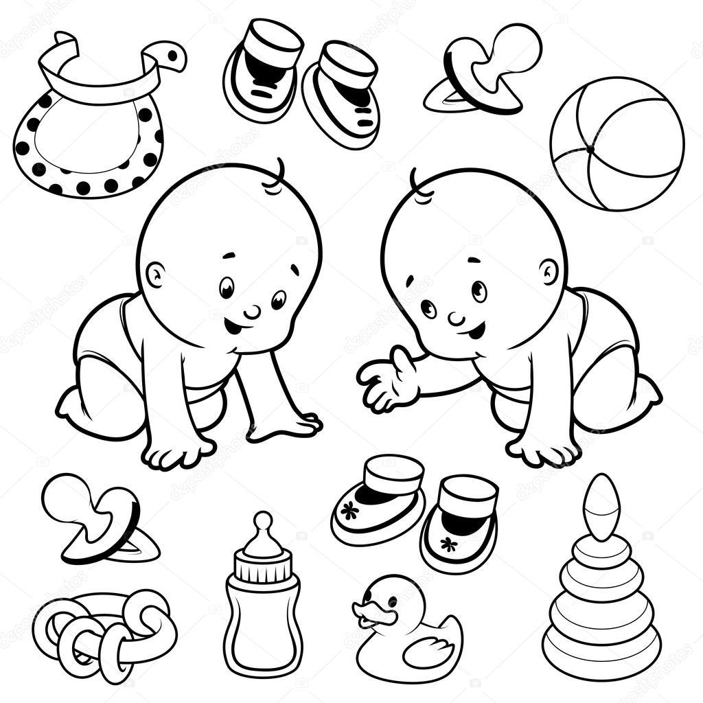 Dos niños pequeños en pañales con artículos para bebé — Archivo ...