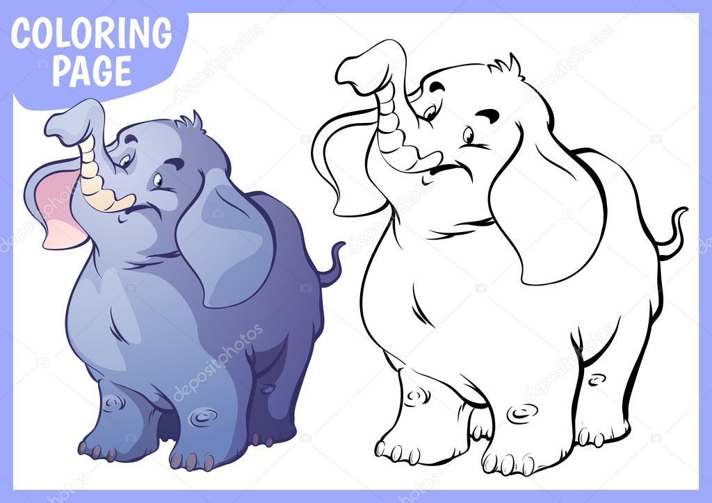 Página para colorear. Elefante azul feliz levantó su trompa — Vector ...