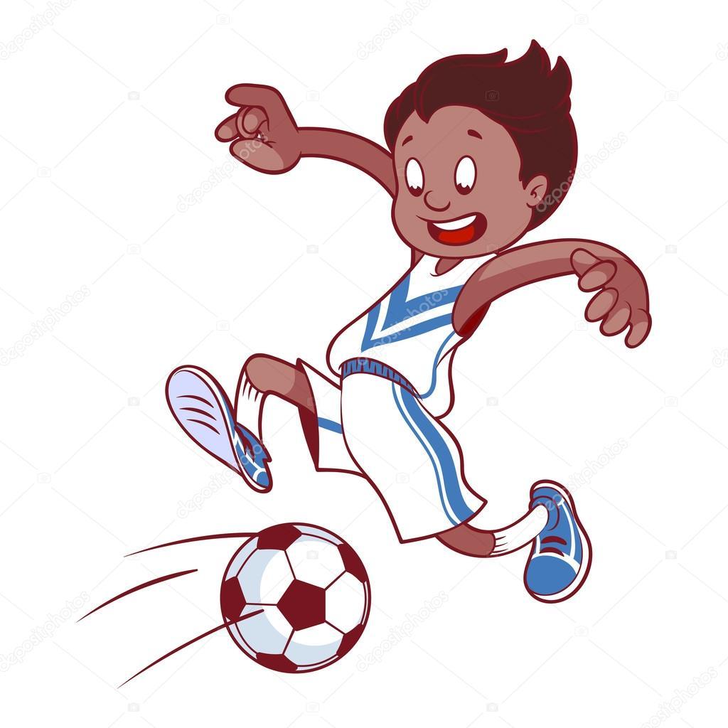 Joyeux enfant qui joue au football illustration de - Fille joue au foot ...