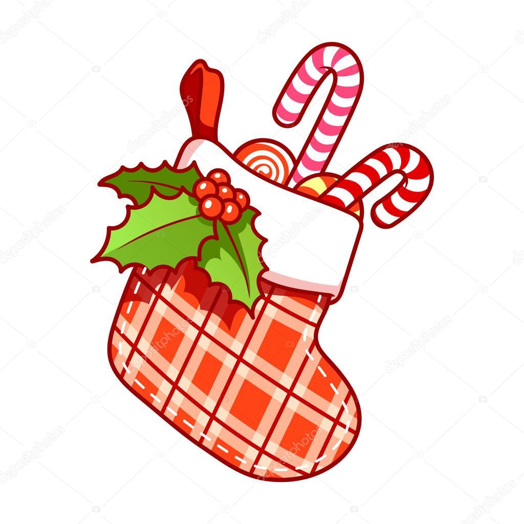 Weihnachtssocke mit Süßigkeiten auf weißem Hintergrund — Stockvektor ...
