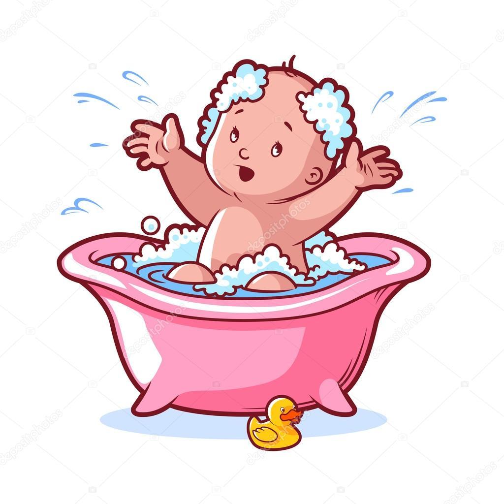 B b bain dans bain rose avec caoutchouc et mousse de canard image vectorielle 88328280 for Photo dans un bain