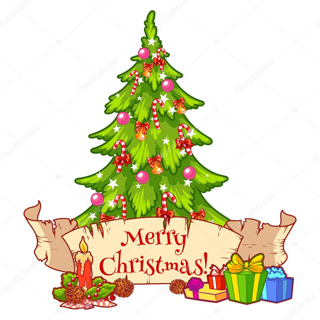 Weihnachtsbaum Clipart.Decorated Christmas Tree With Gift Boxes Candle And Scroll Stock