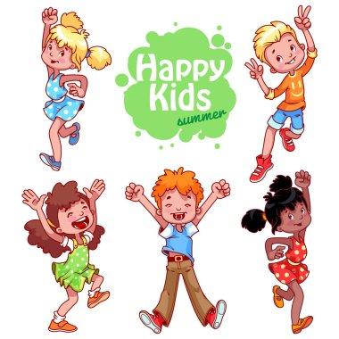 Very happy children on a white background.