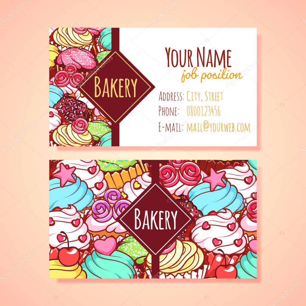 Two horizontal business card template for Pastry shop. — Stock ...