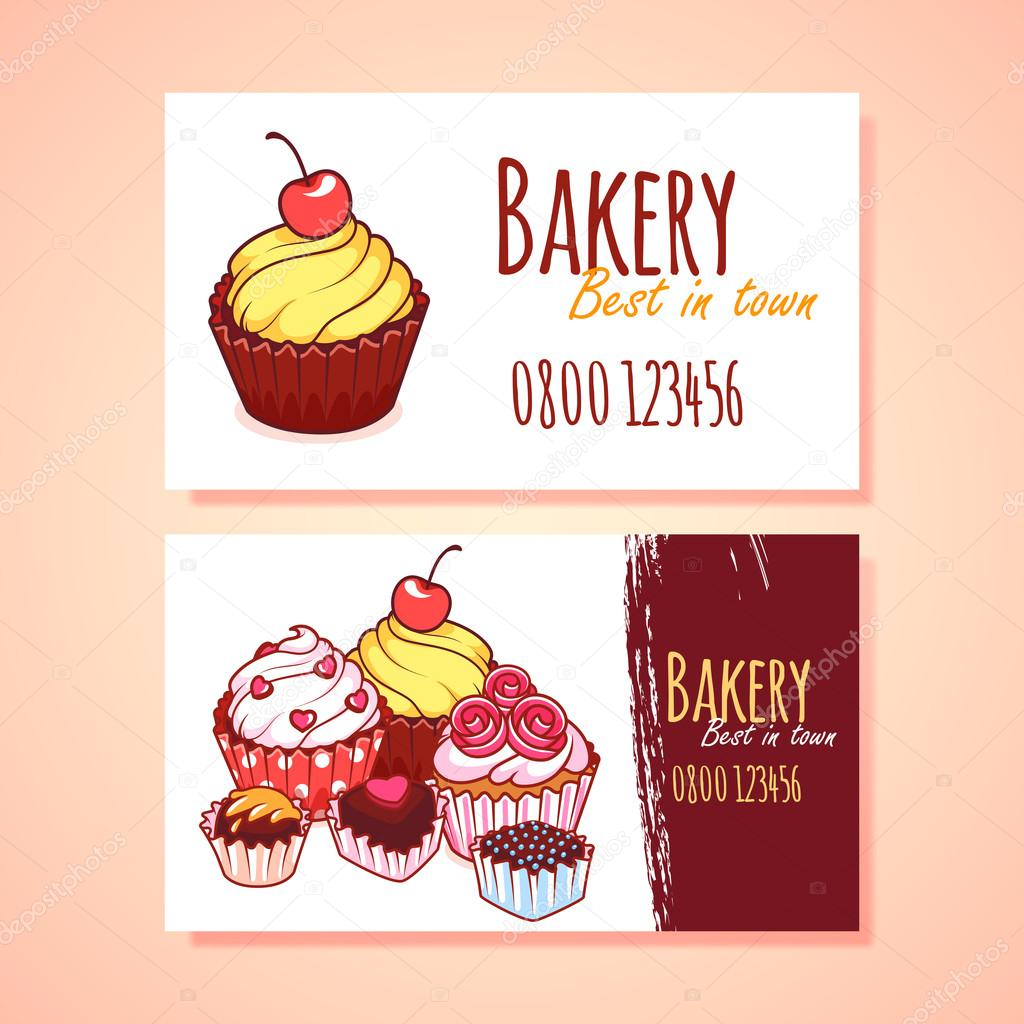 Two horizontal business card template for Pastry shop.
