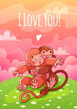 Two enamored monkeys hugging on the lawn.