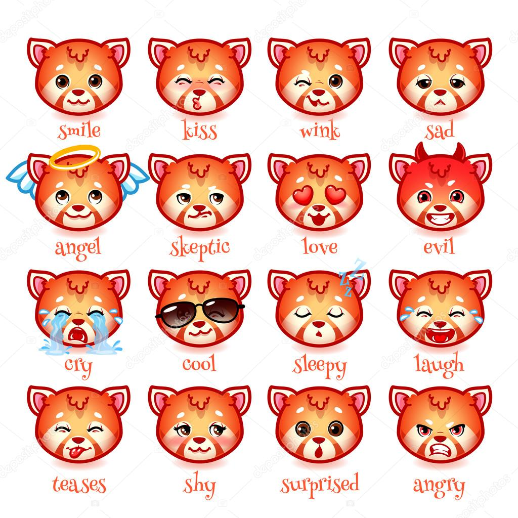 Set Of Emoticons Funny Red Pandas Stock Vector Yavi