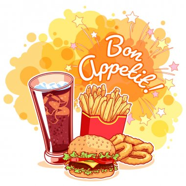 Poster with glass of cola, french fries, hamburger, onion rings