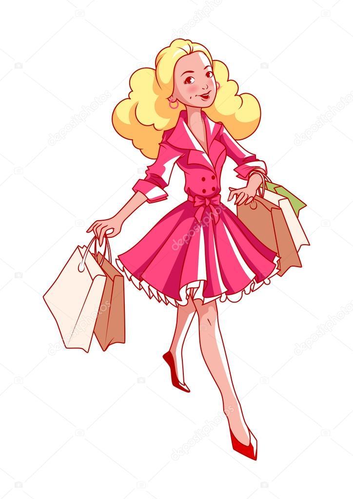 d16a5dda3 Alegre joven chica rubia va de compras con bolsas en la mano– ilustración  de stock