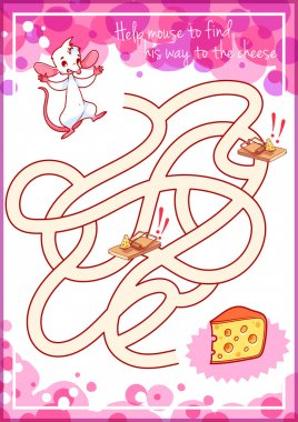 Maze game for kids with mouse and cheese.