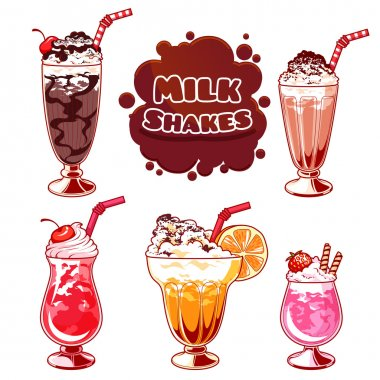 Set of different milkshakes.