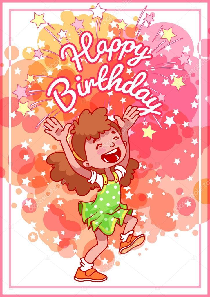 Auguri di compleanno con una ragazza felice — Vettoriali Stock