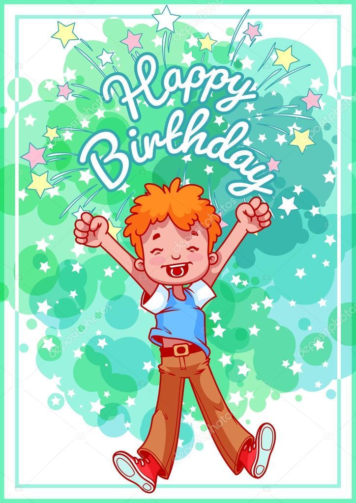 384647cc8cb0d Tarjeta de felicitación de cumpleaños con un niño feliz — Archivo Imágenes  Vectoriales