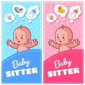 Zwei vertikale Flyer der Babysitter mit niedlichen Kleinkind und Babyspielzeug