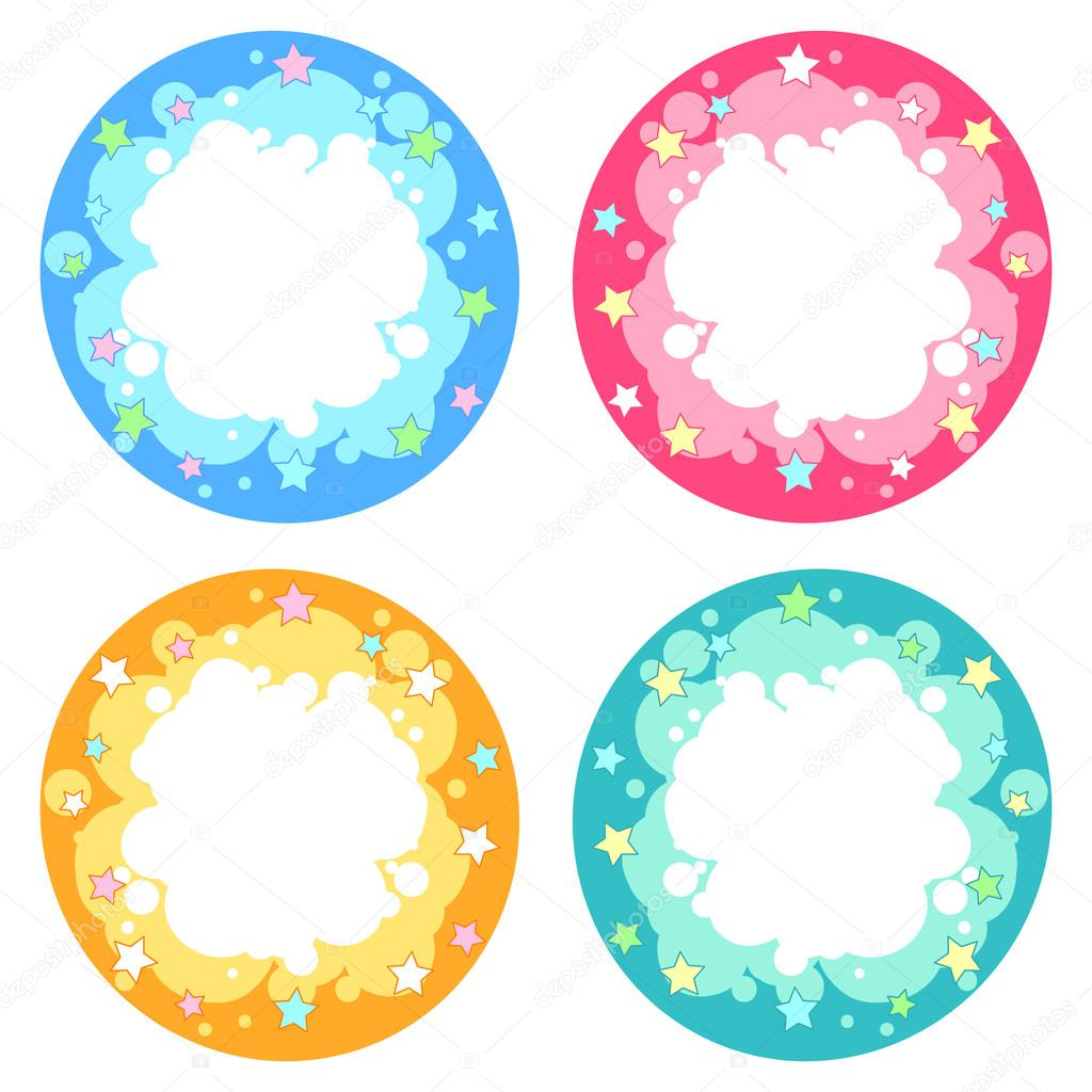 Conjunto de cuatro colores diferentes de marco redondo con estrellas ...