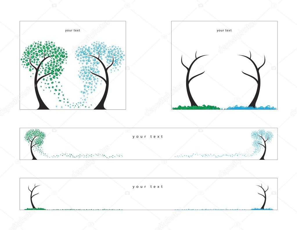 Trees Of The Dollars And Euro Fall Vector Illustration For Web Banners