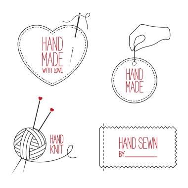 Tailor and handmade emblems set