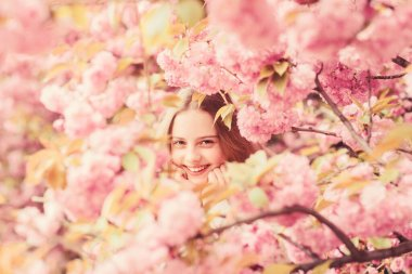 Lost in blossom. Girl enjoying cherry blossom sakura. Cute child enjoy warm spring day. Tender bloom. Girl tourist posing near sakura. Child on pink flowers of sakura tree background. Botany concept