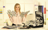 Business challenge. Financial achievement. Financial expert. Girl with briefcase full of cash. Money laundering. Accounting and banking. Smart blonde earn lot of money. Financial success. Tax service