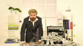 Money laundering. Business challenges. Accounting and banking. Financial success. Tax service. Financial expert. Taxation. Illegal profit. Man with briefcase full of cash. Financial achievement