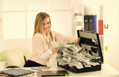 Financial achievement. Money laundering. Business challenge. Accounting and banking. Smart blonde earn lot of money. Financial success. Tax service. Financial expert. Girl with briefcase full of cash
