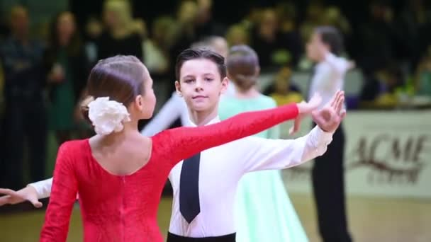 Kids ballroom dancing couple