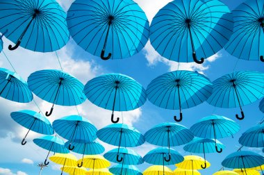 Bright colorful umbrellas background