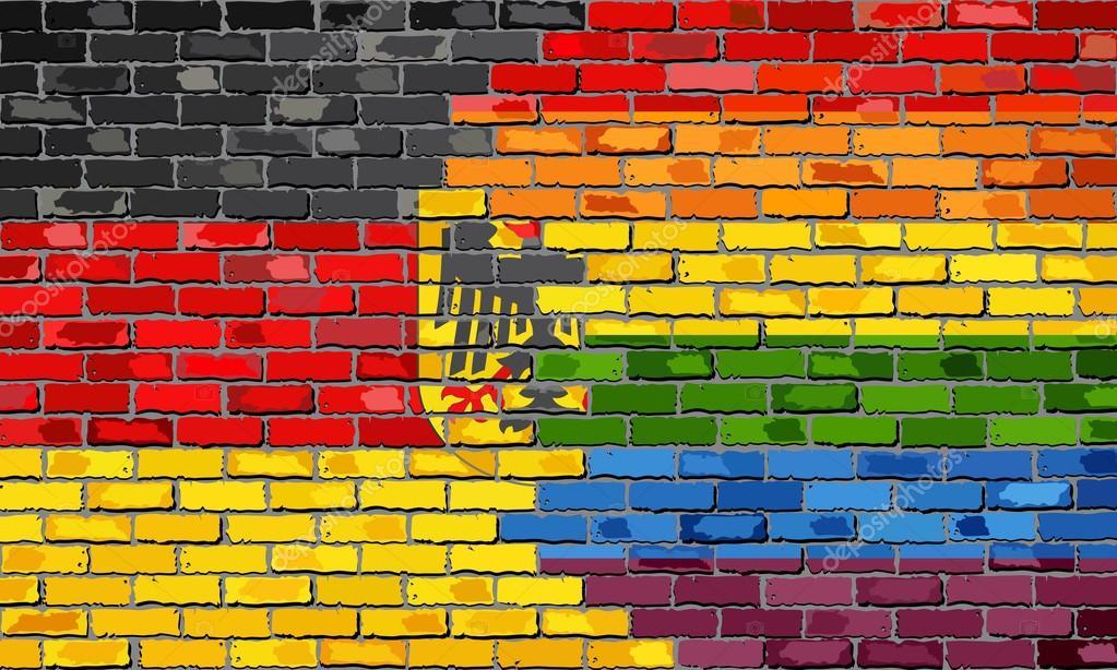 Gay Pride Flag Brick Wall Photos