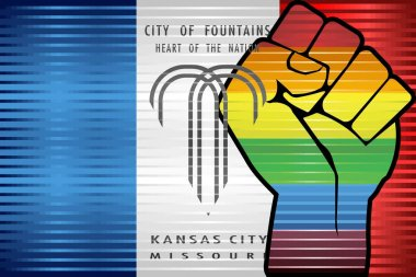 Shiny LGBT Protest Fist on a Kansas City - Illustration, Abstract grunge Kansas City and LGBT flag icon