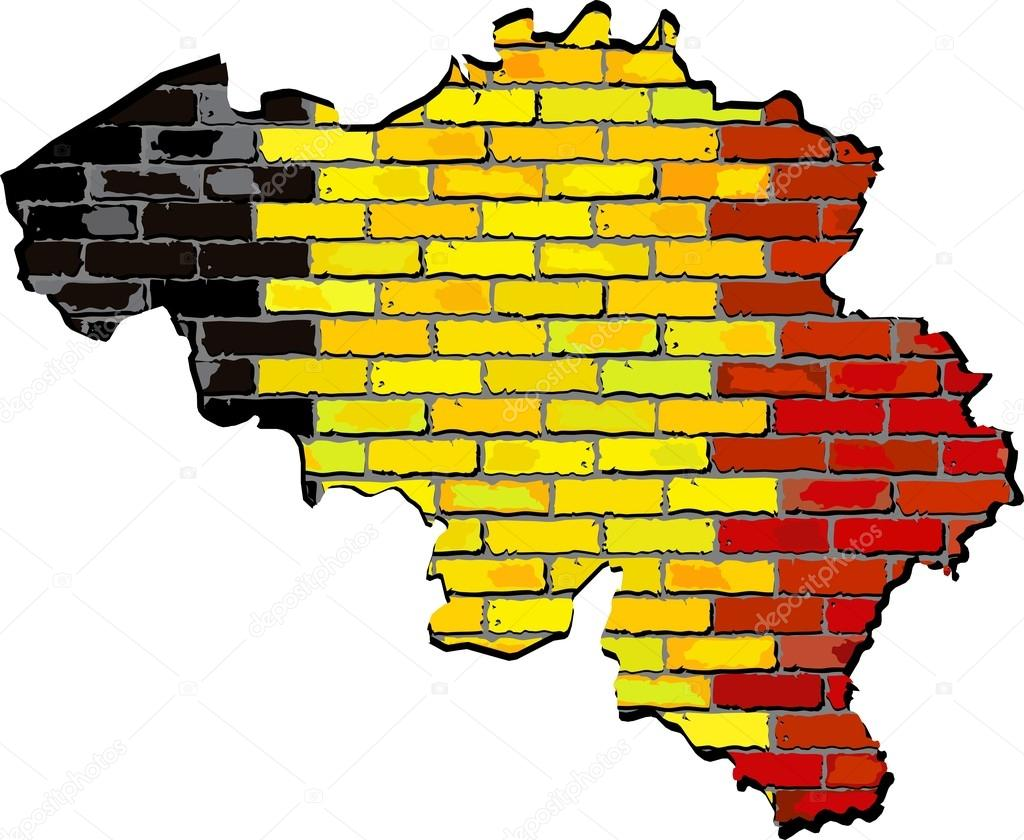 Belgium map on a brick wall — Stock Vector © dusica69 #78586978