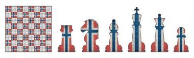 Chess pieces with Norway flag