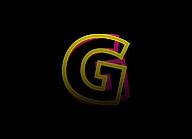 G letter vector desing, shadow font logo. Dynamic split pink, yellow color on black background. For social media,design elements, creative poster, web template icon