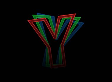 Y letter vector desing, Rgb color font logo. Dynamic split red, green, blue color, outline stroke layer style on black background. For social media,design elements, creative poster, web template icon