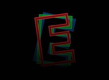 E letter vector desing, Rgb color font logo. Dynamic split red, green, blue color, outline stroke layer style on black background. For social media,design elements, creative poster, web template icon