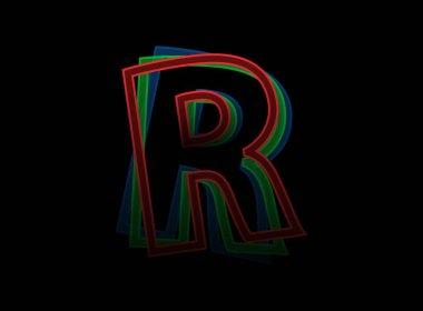 R letter vector desing, Rgb color font logo. Dynamic split red, green, blue color, outline stroke layer style on black background. For social media,design elements, creative poster, web template icon