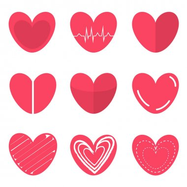 Hearts set for Valentines Day flat icons. Modern simple hearts collection. Vector clip-art icon