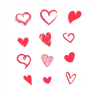 Hand drawn doodle hearts collection clip art. Vector illustration for graphic design icon