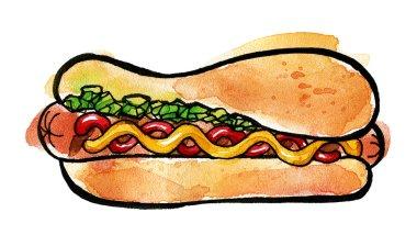 Hot Dog with mustard, ketchup and green relish