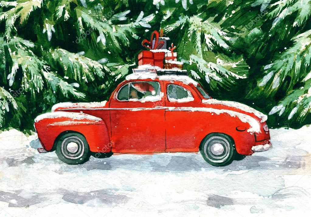машинка с елкой на крыше картинка построены основе древних