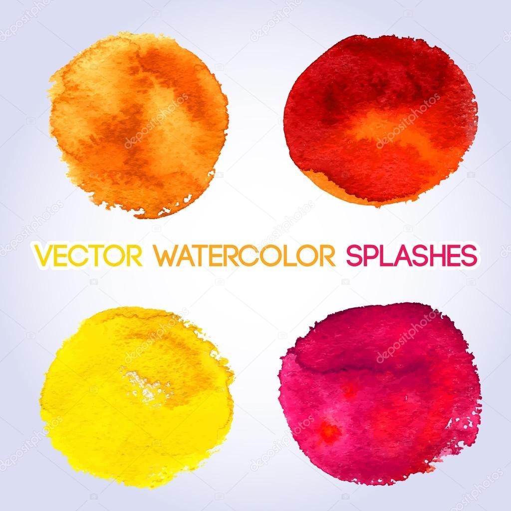 Warme Farben, Gelb, Orange, Rot, Rosa Aquarell Rund Geformte Design Elemente