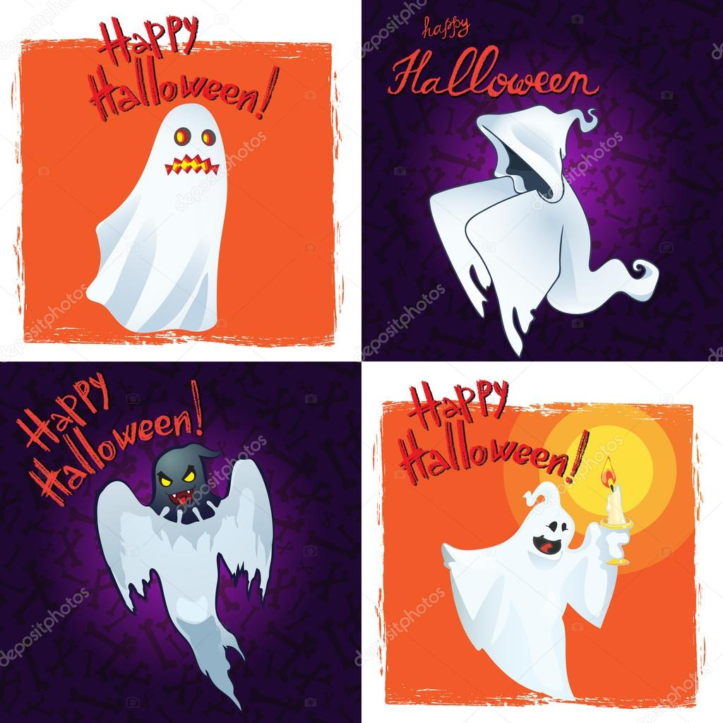 Collection happy halloween greeting cards with cartoon ghosts collection happy halloween greeting cards with cartoon ghosts stock vector kristyandbryce Images