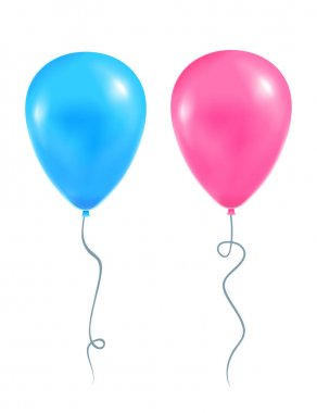 Two balloon blue and pink color. Vector illustartion icon