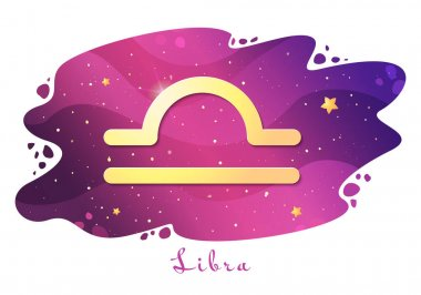 Sign of the zodiac of Libra, astrological horoscope, predictions for the new year, symbol on stary magic sky background. Vector illustration icon