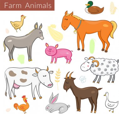 Set of different colorful farm animals