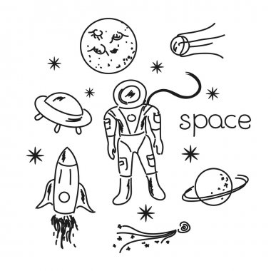 Space objects line drawing