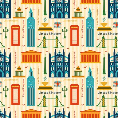 Seamless pattern with landmarks of United Kingdom