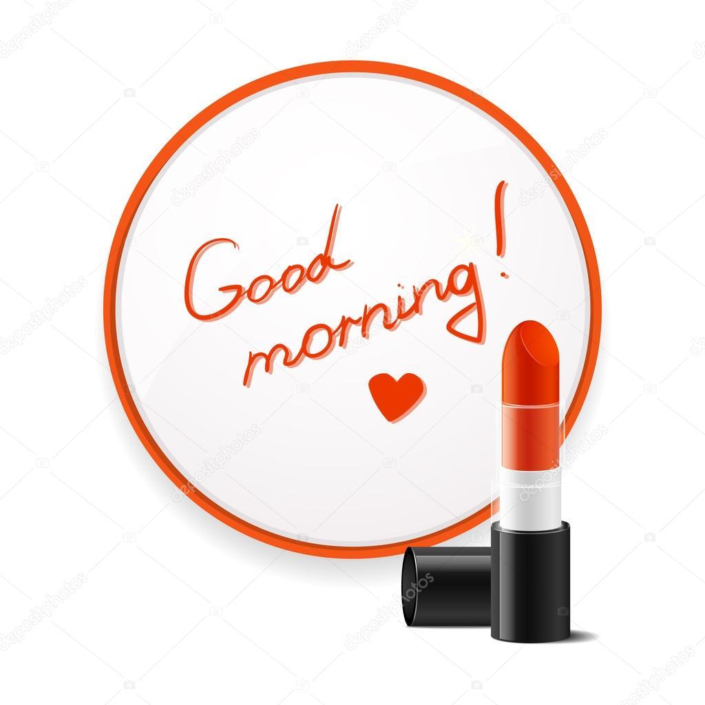 Rouge à Lèvres Inscription Pour Souhaiter Bonjour Collé Au
