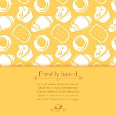 Pastries in doodle style with place for text