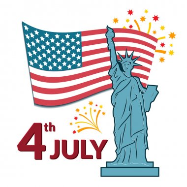Colorful illustration of independence day USA
