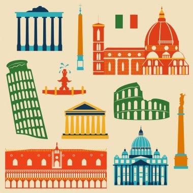 Landmarks of Italy set